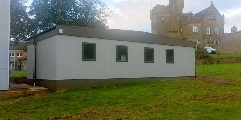 The rear of Dowdales School's new modular classroom