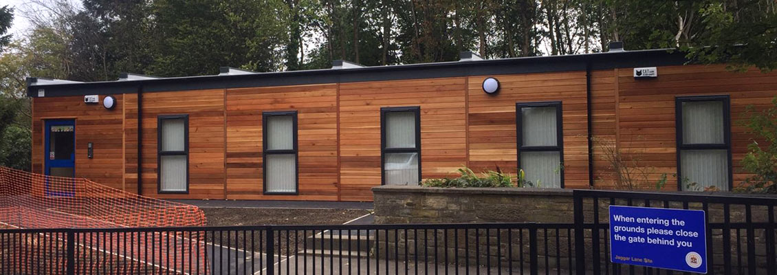 Front of the new Honley School modular nursery building