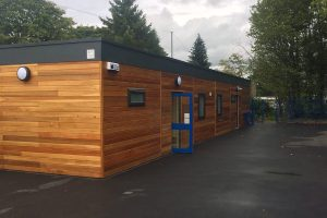 Three quarter view of the nursery schol building in Honley