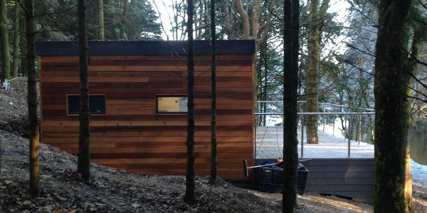 Garden pod office in wooded area