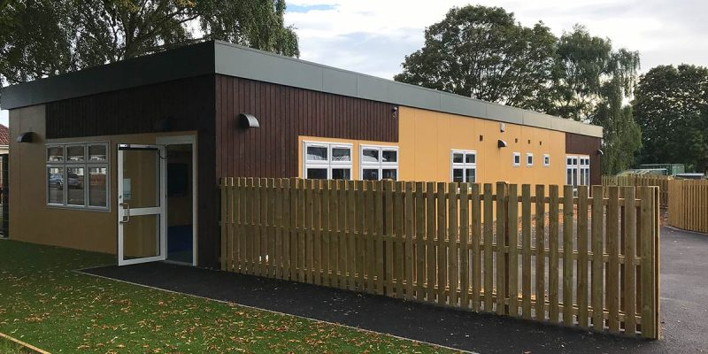 Side entrance to Kingsleigh Primary School new modular building