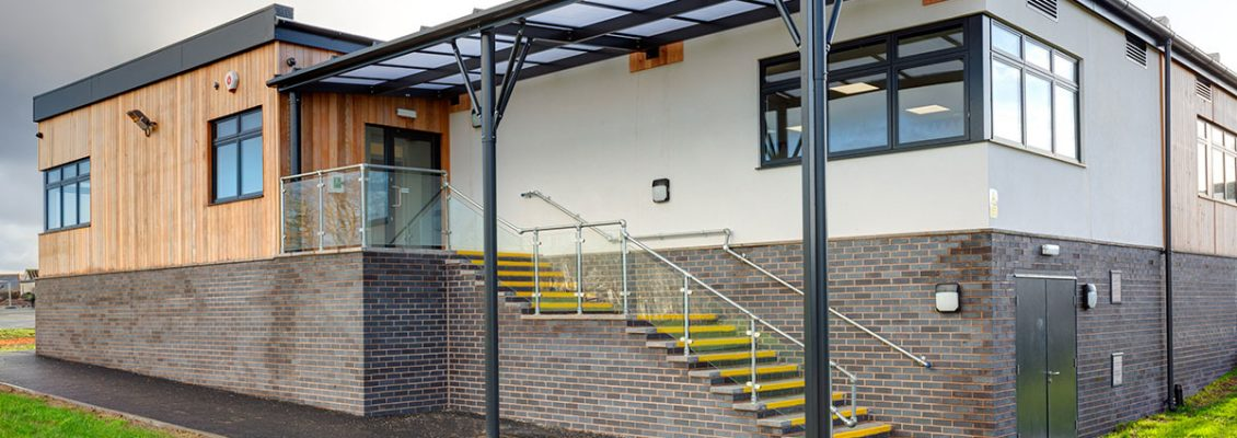Three quarter view of St Stephens Primary School Modular Building