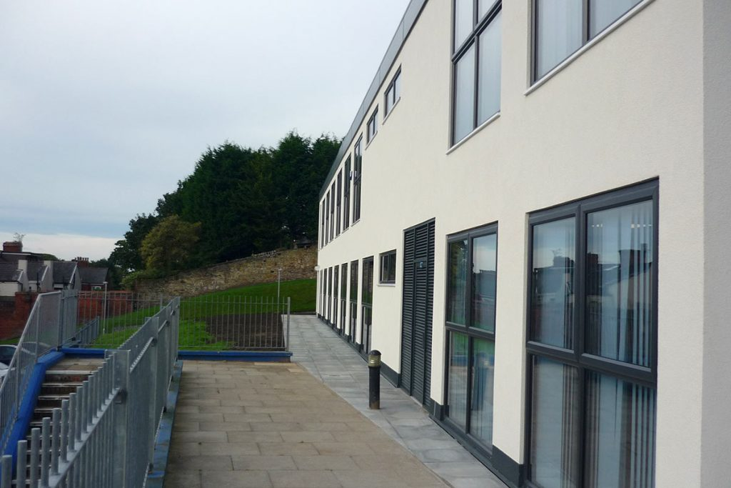 Exterior steps and walkway to Cardinal Newman College