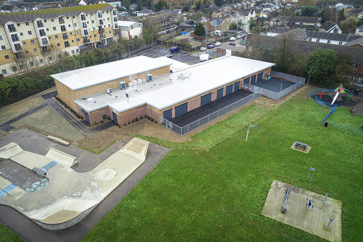 Aerial view of the completed building at Nevendon
