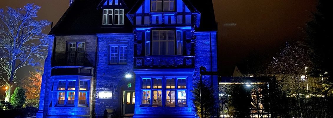 Craigie Hotel Illuminated in blue