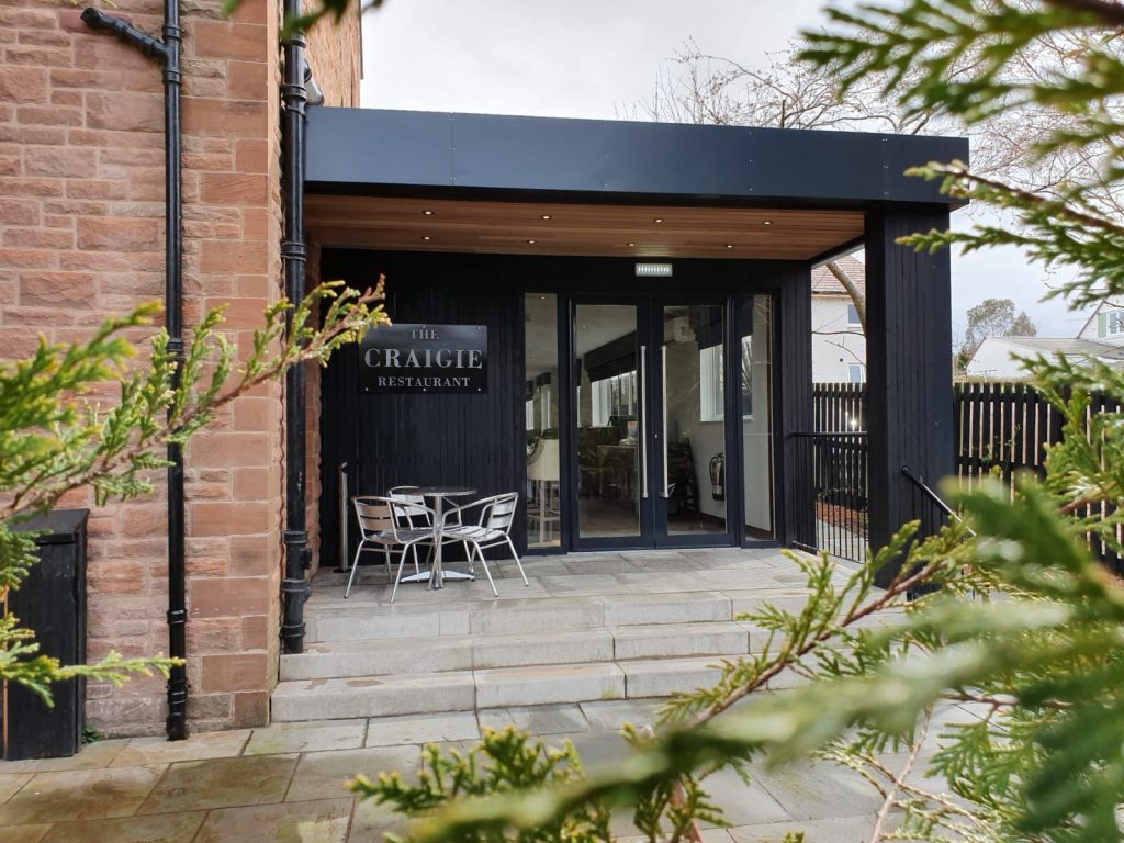 Restaurant entrance to the new modular extension at Craigie Hotel