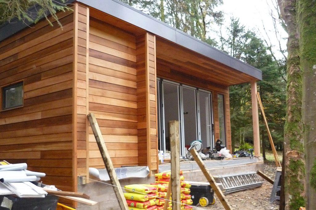 Cedar clad garden pod during construction