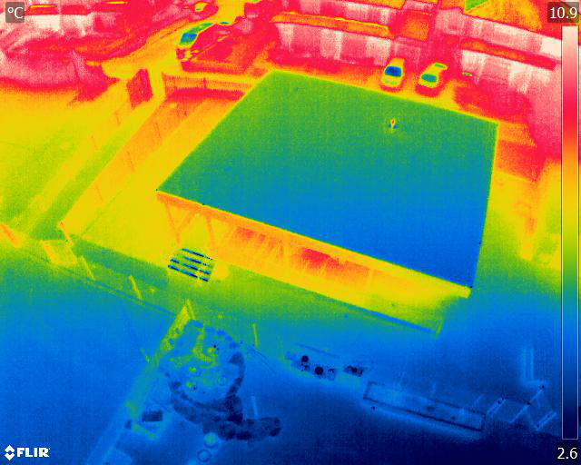 Thermal image of the new classroom at Low Ash from above